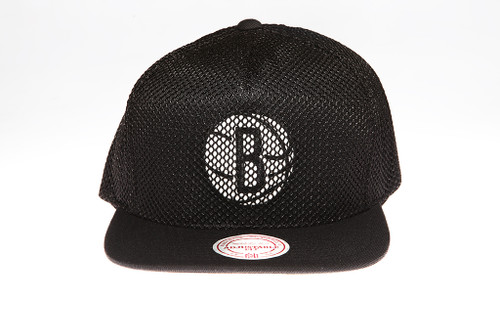 info for 29137 c8bd1 Brooklyn Nets Blackout Mesh Overlay Logo Mitchell   Ness Snapback Hat