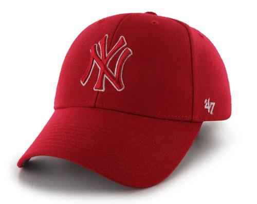 New York Yankees MVP Red 47Brand MLB Velcro Strapback Hat