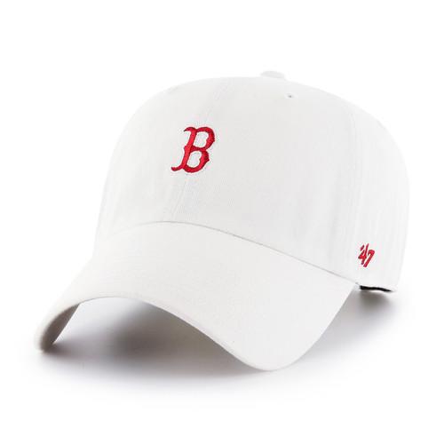 Boston Red Sox White Small Logo 47Brand MLB Strapback Clean Up Hat