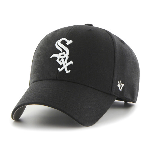 Chicago White Sox MVP Black 47Brand MLB Velcro Strapback Hat