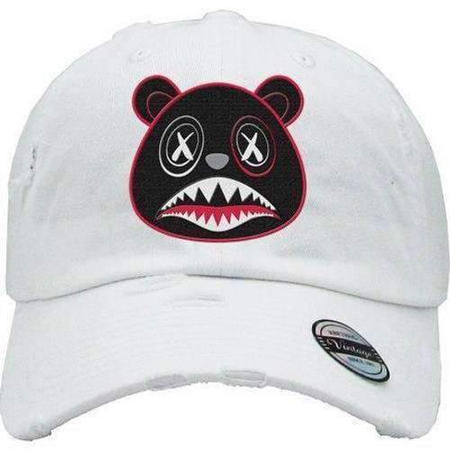 BAWS Red Outline Black Bear White Dad Hat