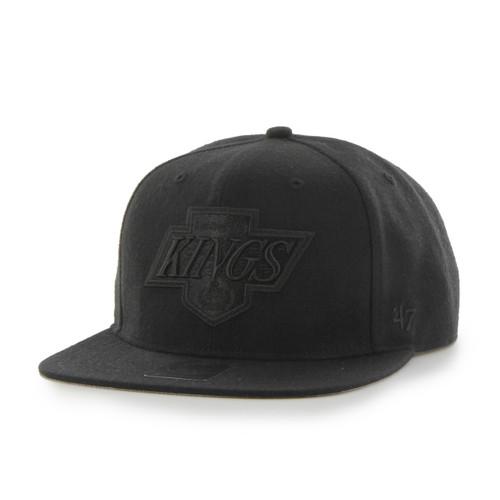 Los Angeles Kings 47Brand Black Logo NHL Black Flat Peak Snapback
