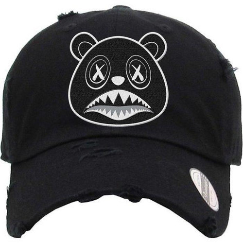 BAWS White Outline Black Bear Black Dad Hat