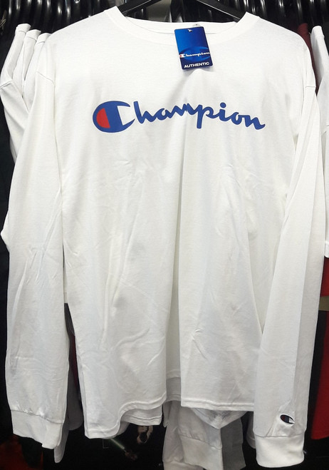 Champion Reverse Weave Script Long Sleeve White T-Shirt