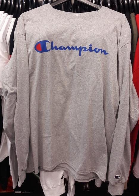 Champion Reverse Weave Script Long Sleeve Grey T-Shirt
