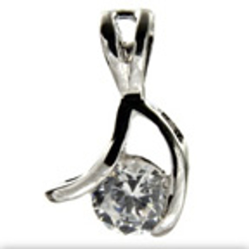 """Petite Wishbone"" Clear CZ Tachyon Pendant Set in Silver"