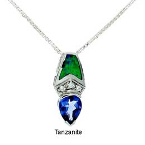 """""""Truth"""" Tachyon Pendant with Opal and CZ Accents Set in Silver"""
