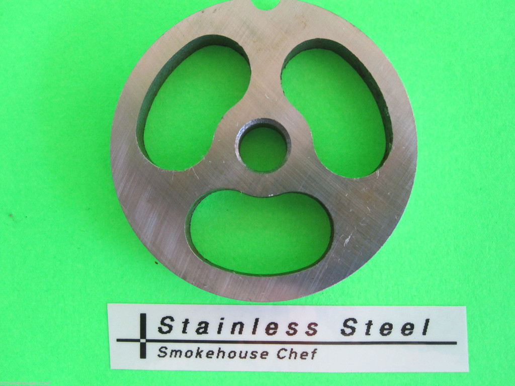 3-HOLE #8 Meat Grinder plate disc Kidney plate for Sausage Stuffing LEM Cabelas MTN etc
