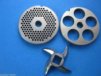 "3-pc #22 Meat Grinder plate disc knife 1/8"" & 3/4"" SET Hobart LEM Cabelas etc"