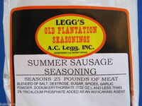 SUMMER SAUSAGE Seasoning Recipe for 50 lbs w/ Cure pak