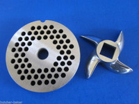 """#22 x 3/16"""" hole STAINLESS Meat Grinding Grinder Plate disc & Cutter Knife"""
