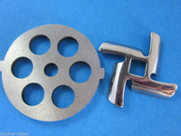 "1/2"" Meat Grinder plate disc & knife for Back to Basics Waring Pro & Oster"