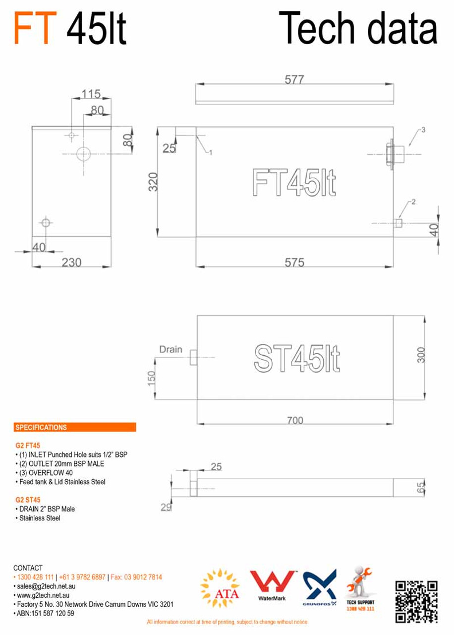 45Lt Stainless Steel Header | Feed | Expansion Tank FT-45