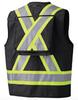 Black 100% Cotton Duck Surveyor's/Supervisor's Vest with Radio Pocket Back