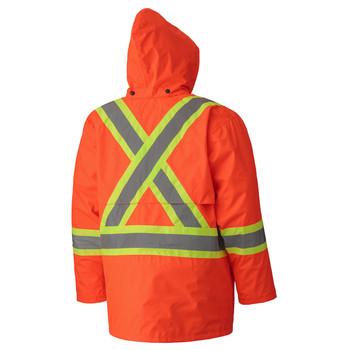 Orange 5594 Hi-Viz 150D Lightweight Safety Jacket With Detachable Hood
