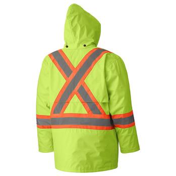Yellow/Green Hi-Viz 150D Lightweight Safety Jacket with Detachable Hood Back