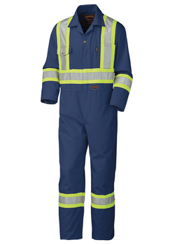 Navy - 5516 Safety Poly/Cotton Coverall | Safetywear.ca