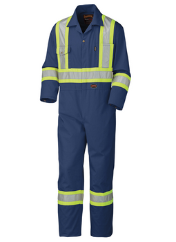 Navy - 5516T Safety Poly/Cotton Coverall