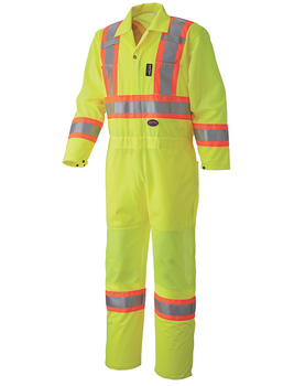 Yellow/Green - 5999A Hi-Viz Traffic Coverall, Back