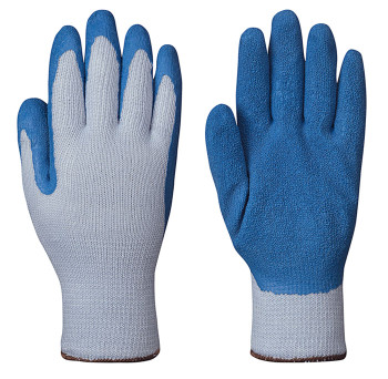 Blue Seamless Knit Latex Glove