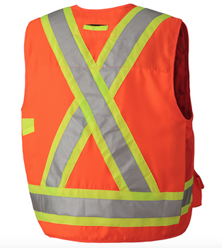 Safety Orange, Back - 6692 Hi-Viz Surveyor's Safety Vest