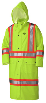 Yellow-Green PU Stretch Hi-Viz Flame Resistant Long Raincoat