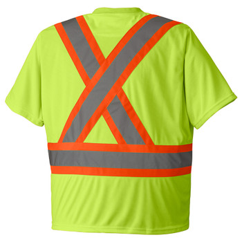 Yellow/Green Birdseye Safety T-shirt Back