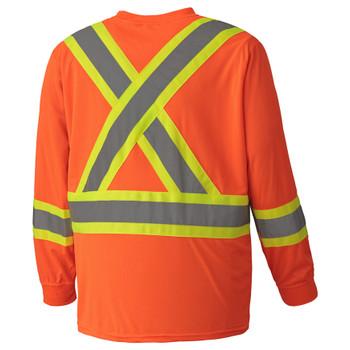 Orange Birdseye Long-Sleeved Safety T-shirt Back