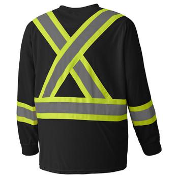 Black Birdseye Long-Sleeved Safety T-shirt Back