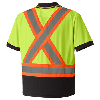 Yellow/Green 6987 Hi-Viz Birdseye Safety Polo, Back