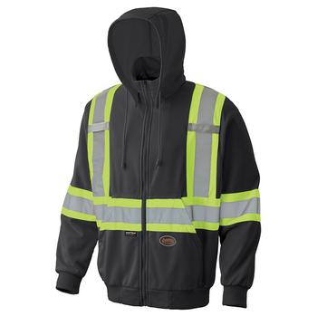Black - 6942 Hi-Viz Micro Fleece Zip Hoodie   Safetywear.ca