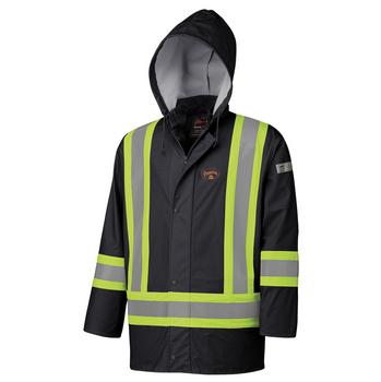 Black - 5894BK Flame Resistant PU Stretch Hi-Viz Waterproof Jacket