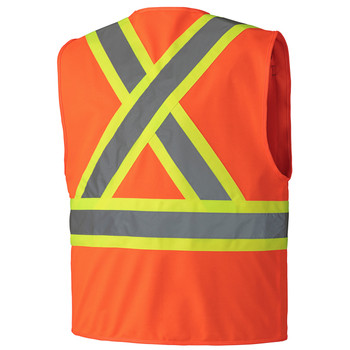 156 Hi-Viz Zipper Front Safety Vest, Back