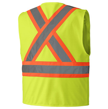 Hi-Viz Zipper FRont Safety Vest Back
