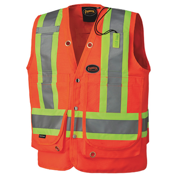 Safety Orange - 6697 Hi-Viz Surveyor's Vest
