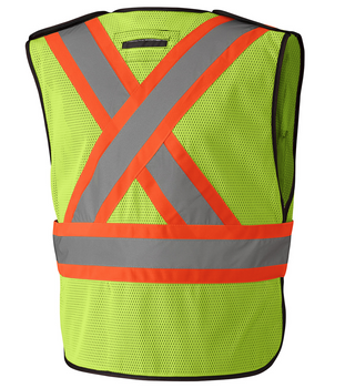 Yellow, Back, 6927 Hi-Viz Traffic Vest | Safetywear.ca