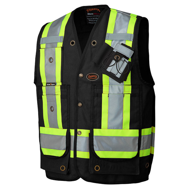 Black 100% Cotton Duck Surveyor's/Supervisor's Vest with Radio Pocket