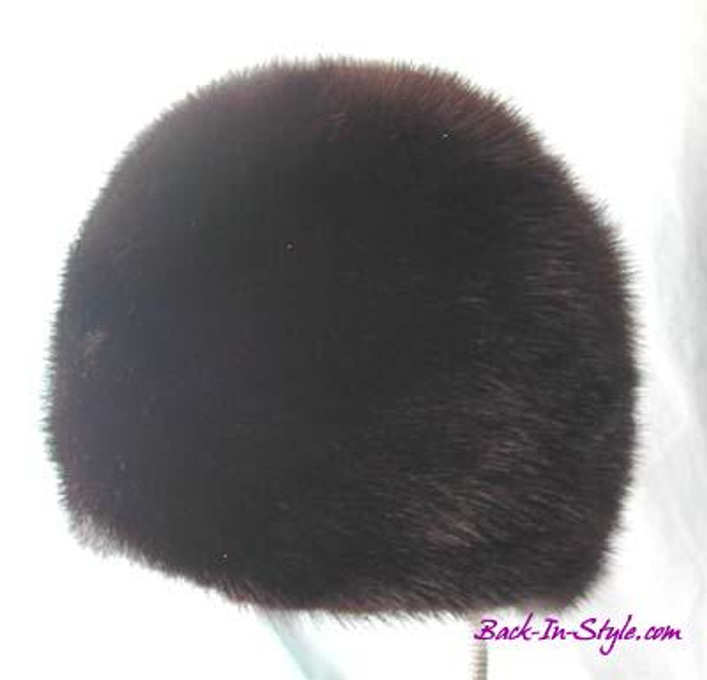 Brown Fur Hat with Leather Buttons on ears