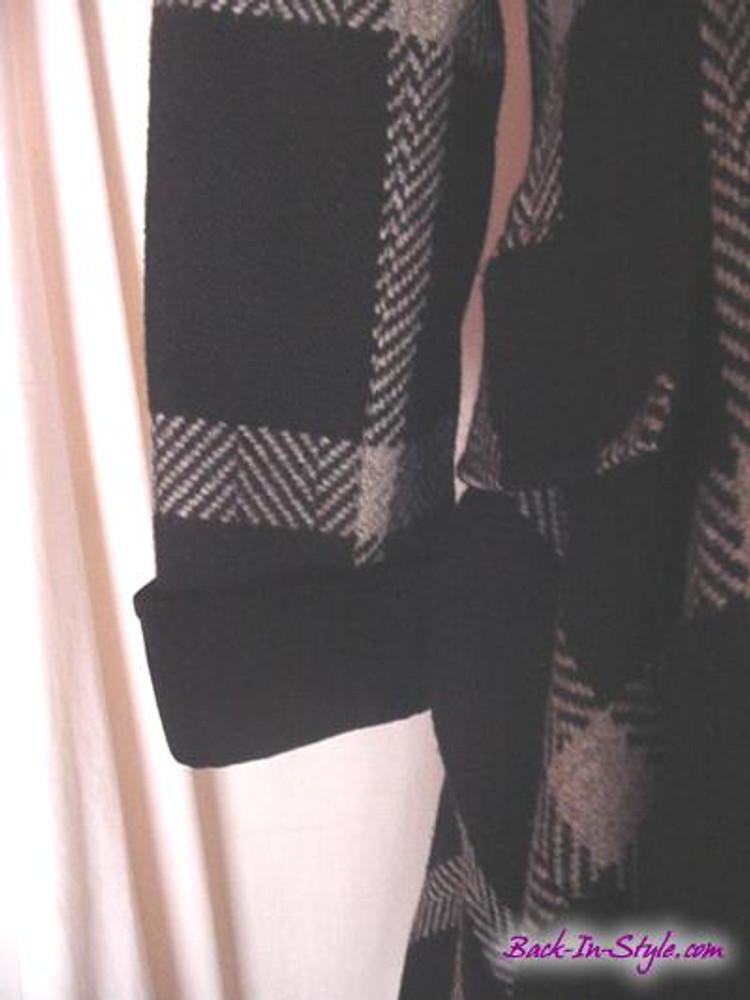 Valentino Black and Beige Window Pane Wool Swing Coat