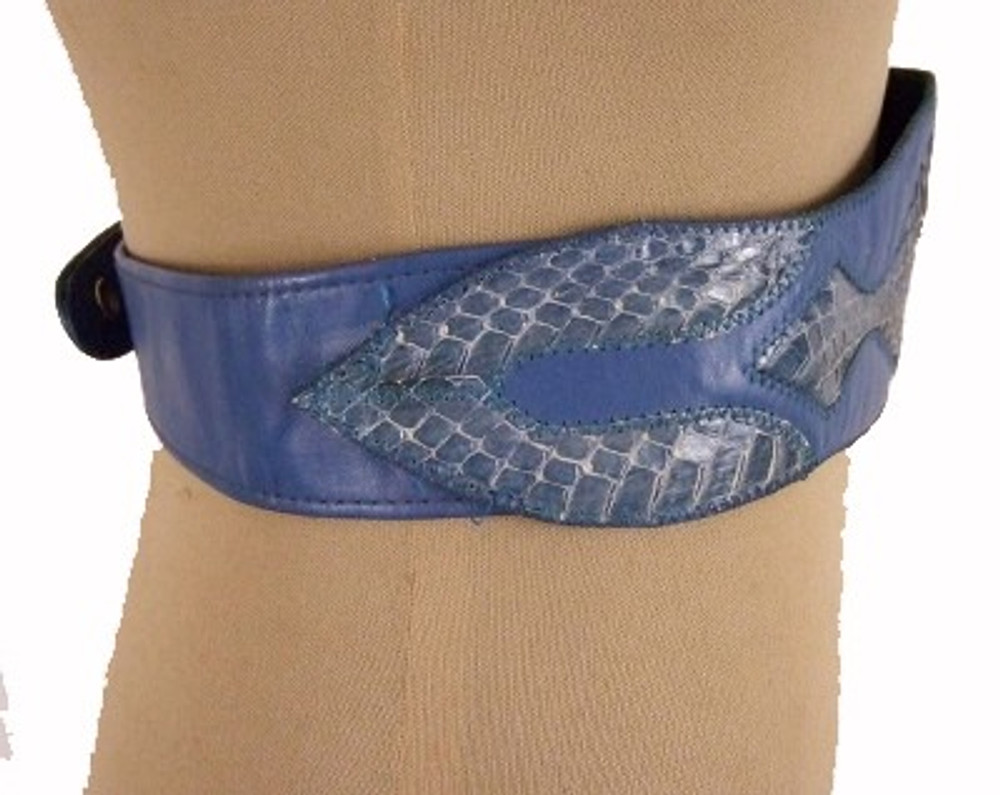 Blue wide leather belt with snake skin accents