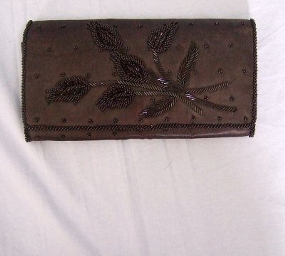 Black silk clutch with floral beading