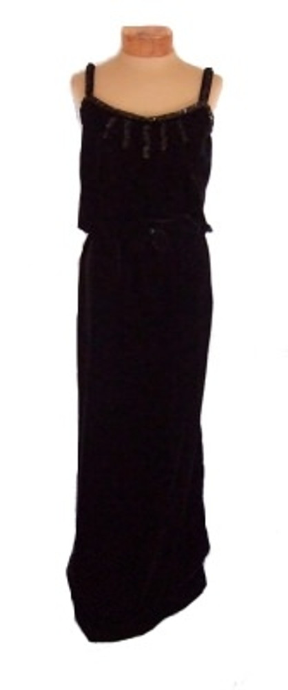 Vintage Courreges Black Velvet Sequined 1970s Evening Dress