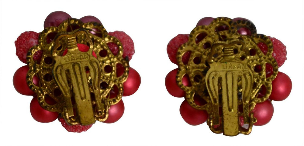 Vintage Button Pink Stone Earrings