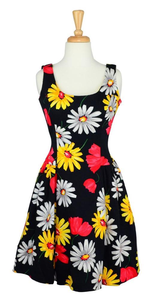Scaasi Vintage 1980s Cotton Floral Pique Dress