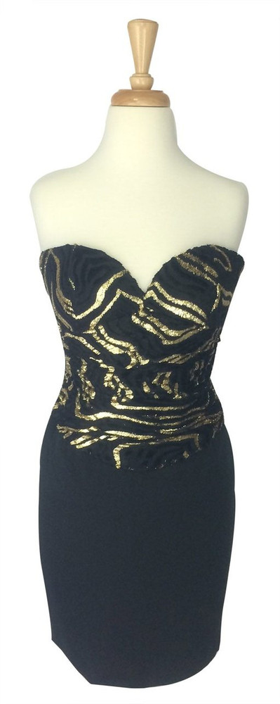 Vintage Vicky Tiel Couture Black & Gold Strapless Dress