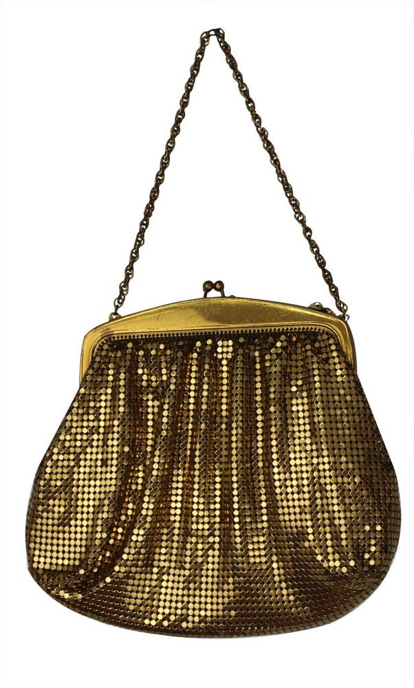 Vintage Whiting & Davis 1940s Gold Mesh Evening Bag