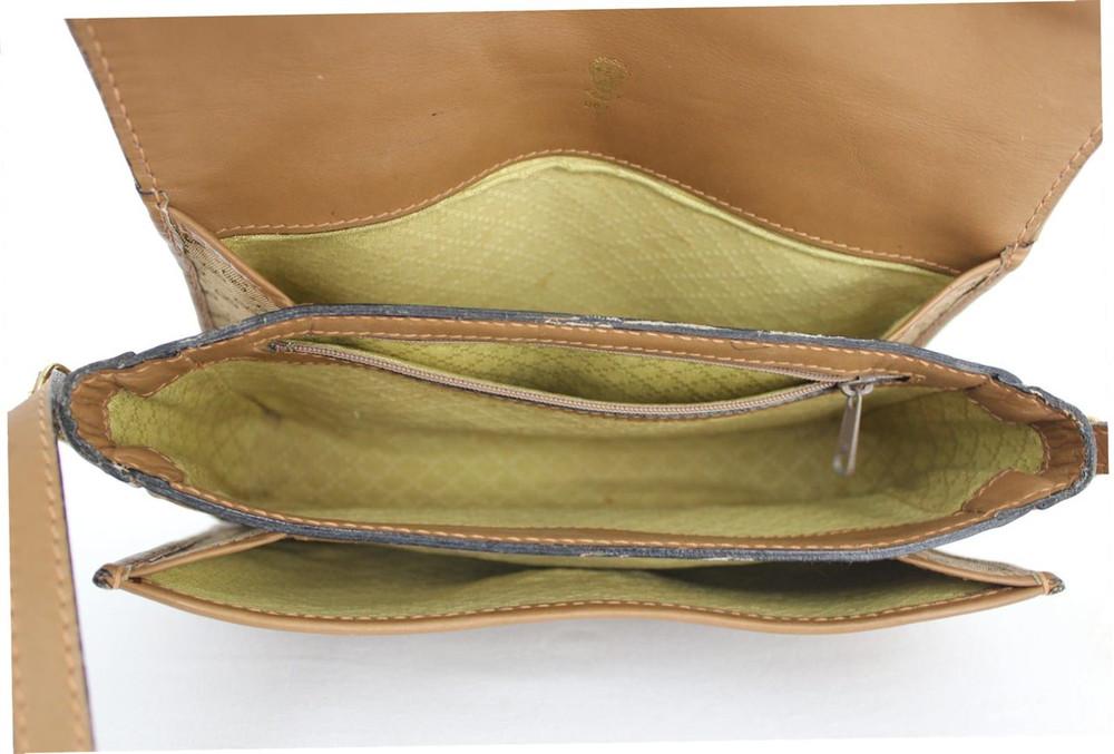 Vintage Gucci 1970s Tan Logo Shoulder Bag