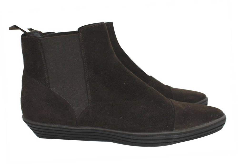 Hogan Ankle High Flat Brown Booties NEW