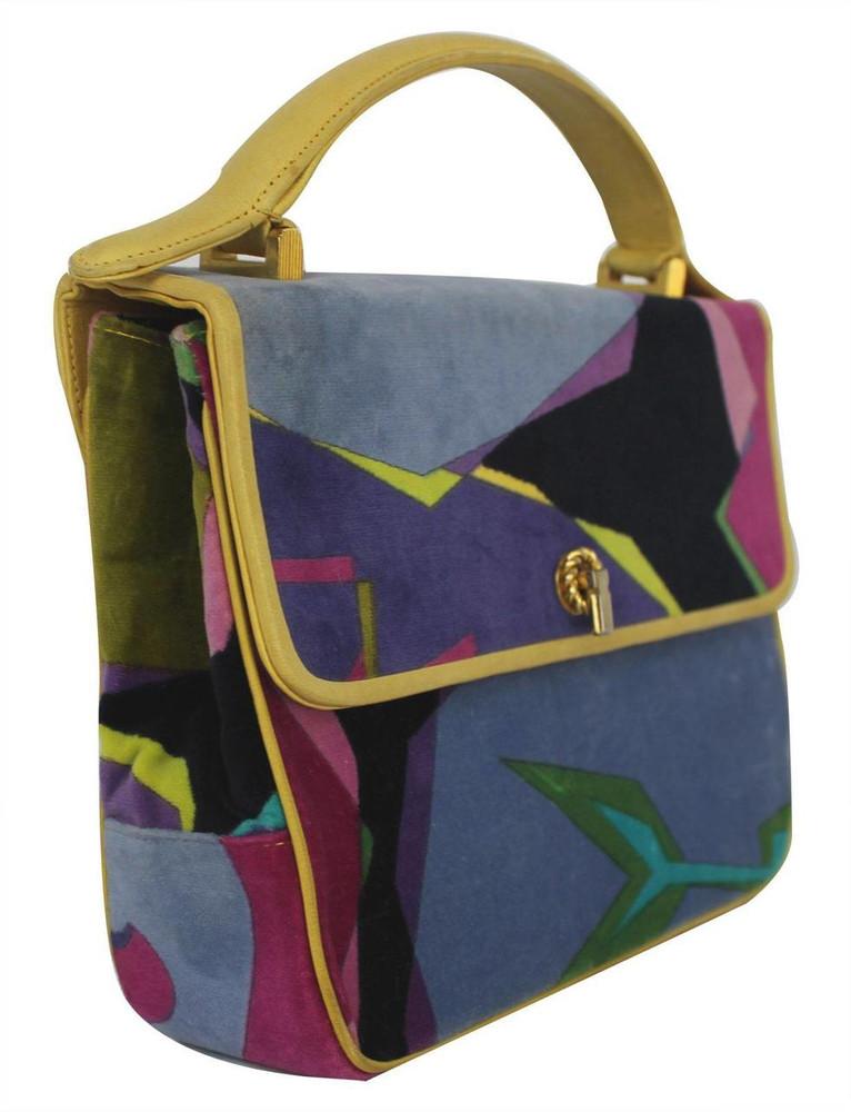 Vintage Emilio Pucci 1960s Velvet Handbag with Yellow Frame