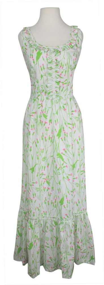 Vintage Lilly Pulitzer Green & Pink Floral Maxi Dress 1